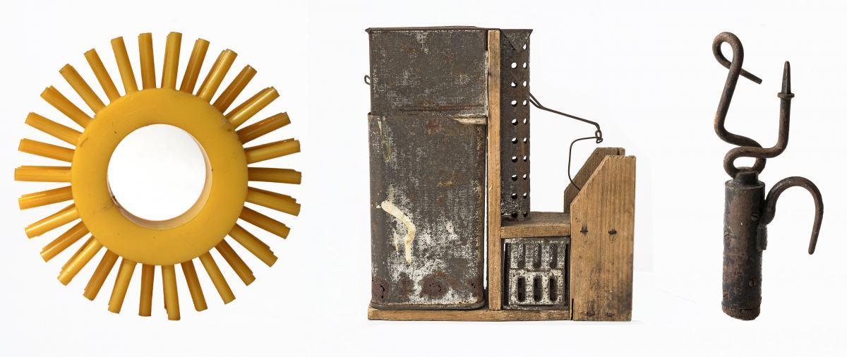 """Ring gelb, Mausefalle """"Capito"""", Metallverbindung mit Haken, Sammlung Werkbundarchiv – Museum der Dinge, Fotos: Armin Herrmann"""