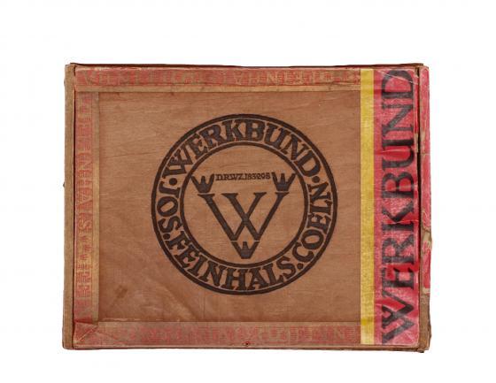 Werkbund-Zigarrenschachtel anlässlich der Werkbundausstellung 1914, gestaltet von Fritz H. Ehmcke für die Firma Jos. Feinhals